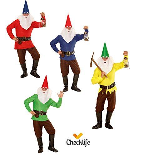 Checklife Kostüm Zwerg rot gelb blau grün Zwergenkostüm GNOME Faschingskostüm 901623 (Small, ()