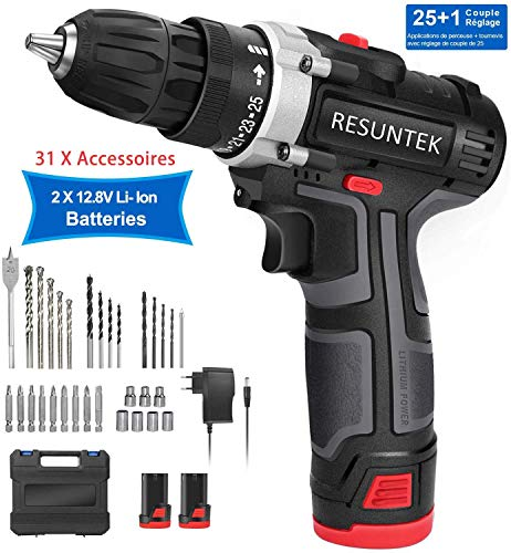 Perceuse Visseuse sans Fil 12.8V, resuntek  28Nm Brushless...