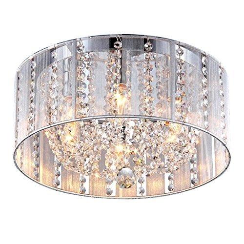 Whse of Tiffany 1201/6Y Addison 6-Light White 16 Crystal Flush Mount by Whse of Tiffany - 6 Light Flush Mount Crystal