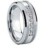Ultimate Metals Co. 8MM Herren Wolframcarbid Verlobungsring,Ehering Mit Edelstahl Und Zirkonia Größe 63