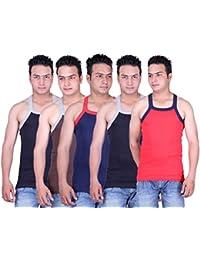 Zimfit Solid Gym Vests - Pack of 5 (RED_BLK_BLU_BRN_BLK)