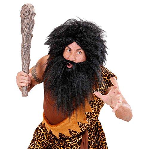 NET TOYS Neandertaler Perücke mit Bart Piratenperücke schwarz Steinzeit Perücke Pirat Barbar Wikinger Kostüm ()