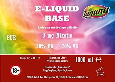 E Liquid Base 70VG /30 PG für extra Dampf 1L PUR Vape OHNE Nikotin 0 1000 ml von Colok GmbH