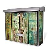 BURG-WÄCHTER Edelstahl Briefkasten, Motivbriefkasten Modell Secu Line 31,5 x 38,5 x 11,5cm, Design Briefkasten mit Motiv Grünes Holz