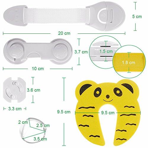 Imagen para Rovtop 36 Pcs kit de Seguridad para Bebés, 12 Protectores de Esquina de Silicona, 6 Cierres de Armario, 6 Cerraduras de Cajón, 2 Clips de Puerta, 10 Cubiertas de Protección de Socket