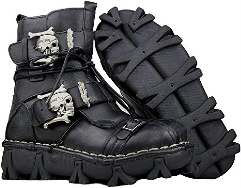 SLGJYY FashionLeather Militäruniform Stiefel Gothic Schädel Punk Martin Plattform Mitte der Wade Stiefel SteampunkSLGJYY FashionLeather Militäruniform Plattform Steampunk