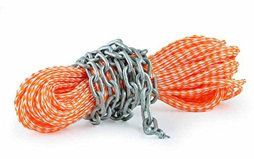 wellenshop 8mm, 30m lange Ankerleine mit Kettenvorlauf Ankerkette mit Schäkel Tauwerk Leine Tau Seil Anker Boot, Farbe orange/weiß, Kette verzinkt -