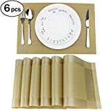 Fanuk Non-slip Insulation Washable PVC Placemats Mats for dining Table Set of 6 (Gold)