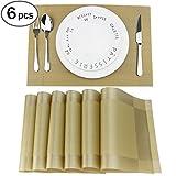 6er Platzdeckchen Fanuk waschbar rutschfeste Tischmatten aus PVC golden 30*45cm