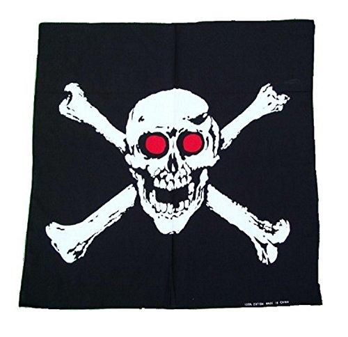 Schwarzer Kopftuch mit Piratentotenkopf, zum Wickeln.