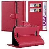 Cadorabo Coque pour Sony Xperia E4G en Rouge Cerise – Housse Protection avec Fermoire Magnétique, Stand Horizontal et Fente Carte – Portefeuille Etui Poche Folio Case Cover