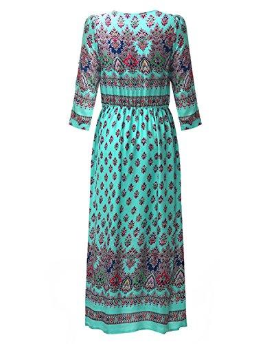 MODETREND Damen Strandkleid mit Bohemien Aztekisch Geblümt Sommer Kleider Abendkleid Ballkleid Cocktailkleid Grün