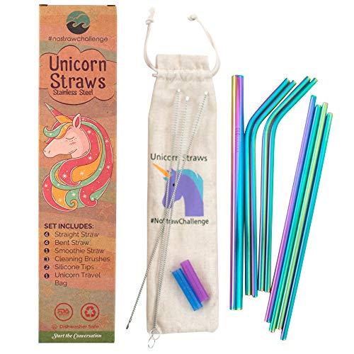 Einhorn-Strohhalme aus Edelstahl in Regenbogenfarben zum Trinken, 8 Stück, 4 gerade, 4 gebogene Strohhalme, BPA-frei und umweltfreundlich, Alternative aus Kunststoff