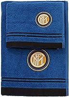 Inter 8907 020 2120 Juego de Toalla y de Acogida de Baño 100% Algodón, Negro, Azul, 100 x 60 x 1 cm