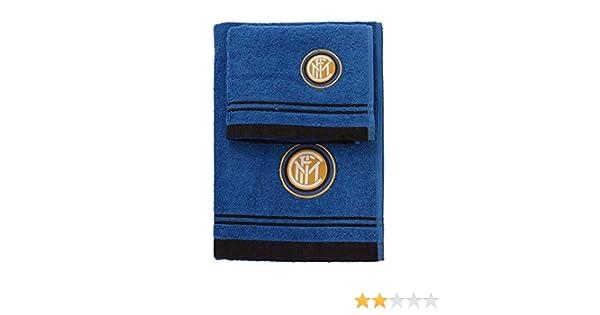 Inter 8907 020 2120 Serviette Set Serviette Invit/é Eponge 100/% Coton Blanc//Bleu 100 x 60 x 1 cm