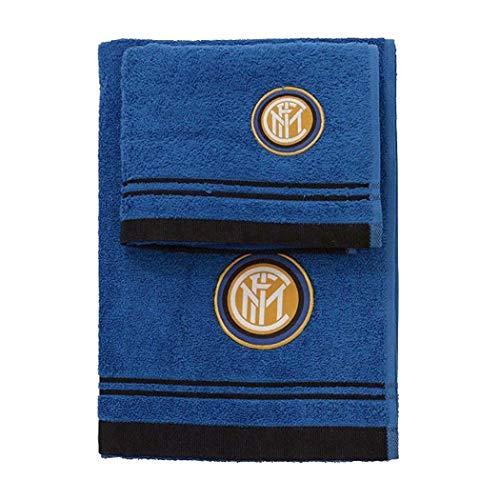 Inter 8907 020 2120 Set Asciugamano e Ospite Spugna 100% Cotone Nero/Azzurro 100x60x1