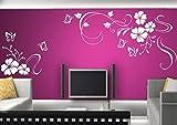 2 pezzi tatuaggio parete Adesivo adesivi murali soggiorno camera da letto dei bambini CUCINA 30 colori per la selezione di fiori di vite farfalla farfalle wpf04(010 bianco, size3:ca.125x58cm and 58x48cm)