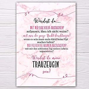 """A6 Postkarte """"Willst du meine Trauzeugin sein?"""" in marmor/rosa Glanzoptik Papierstärke 235 g / m2 Geschenk für Schwester…"""