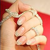 Jovono Kurze, künstliche Fingernägel, mit Glitzersteinen, ohne Klebstoff (hautfarben)