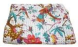 INDIAN CREATIONS Bird Print Twin größe Kantha Quilt Kantha Decke, EIN Bett, Weiß, Twin Kantha Tagesdecke, Bohemian Betten Kantha Größe 152,4x 228,6cm von indischen Kreationen