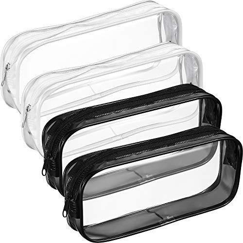 4 Piezas Bolsa Lápices Cremallera PVC Transparente