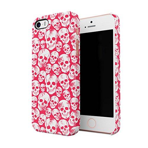 Grunge Red Gothic Skeleton Punk Rock Mini Skulls Pattern Dünne Rückschale aus Hartplastik für iPhone 5 & iPhone 5s & iPhone SE Handy Hülle Schutzhülle Slim Fit Case Cover