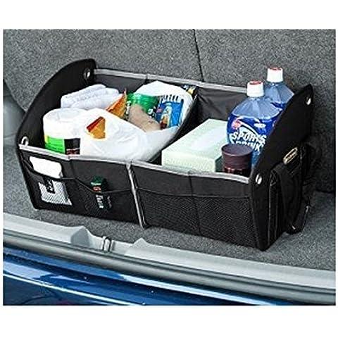 OurKosmos® Pieghevole grande capacità Bagagliaio Organizzatore Storage Box Contenitore con tasche in rete di stoccaggio e trasporta la cinghia (il nero)