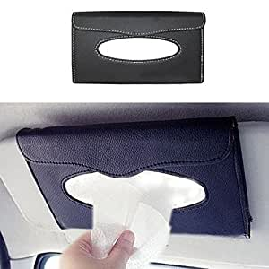 ZESI Car Sun Visor Tissue Paper Box Case Auto Interior Decoration Accessories Holder (Black)
