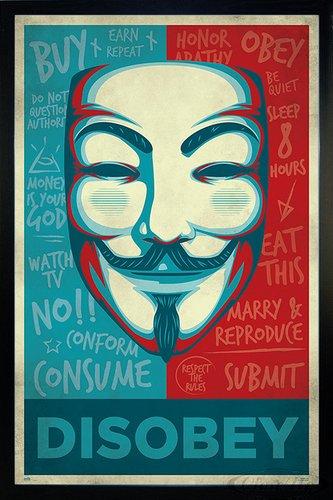Close Up V for Vendetta Poster Maske Disobey (66x96,5 cm) gerahmt in: Rahmen schwarz -
