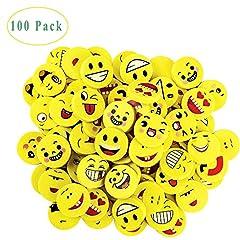 Idea Regalo - Emoji Emoticon Gomma, 100 Pezzi Cancellare Emoji Gomme Per Cancellare Smiley Smile Regalino Ospiti Compleanno Bambini Come Regalini da Festa A Altro (Modello Casuale)