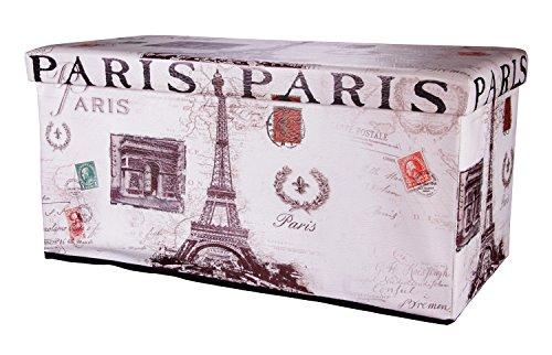 Ondis24 Polsterhocker Kleiderbox Kleiderkiste Paris Eiffelturm Sitzhocker Hocker faltbar mit Stauraum 85 Liter Aufbewahrungsbox XL Hocker Mit Eiffelturm