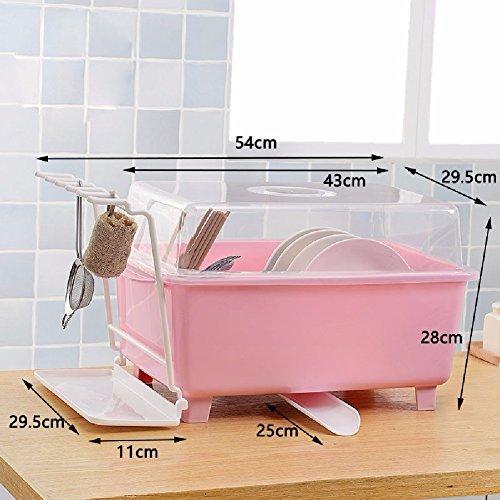 ZPSPZ Küchenregal Im Küchenschrank Hat Plastik Abfluss Mit Essstäbchen Box Rack Rahmen Decken,Pink
