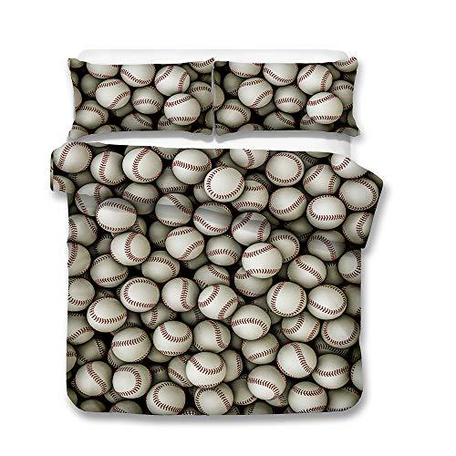 XWLIU Baseball 3D Bedruckte Bettwäsche-Sets, Bettbezug-Set 3pcs Einzel-Doppelkönig Super King-Size-Bett-Set (Kein Blatt Keine Füllung),B-220 * 230cm -