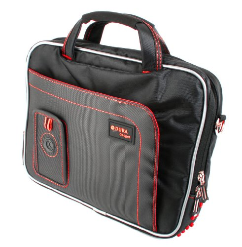 DURAGADGET Stabile 9-12 Zoll Reise-Tasche, Modell Dalek, geeignet für Toshiba Encore (WT10-A-102, WT10-A-106) Tablet PCs (SCHWARZ mit ROTER Naht) -