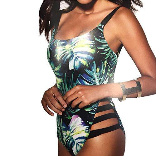 YHYZ Damen Badeanzüge Tankinis grüne Blätter, einteiliger Bikini, geeignet für den Strandpartyurlaub im Schwimmbad, grün_XL -