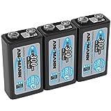 ANSMANN Akku 9V Block Typ 300mAh - Wiederaufladbare Batterien 9V NiMH mit geringer Selbstentladung & hoher Kapazität - 9V Block ideal für Messgerät Multimeter Spielzeug Fernbedienung uvm - 3 Stück