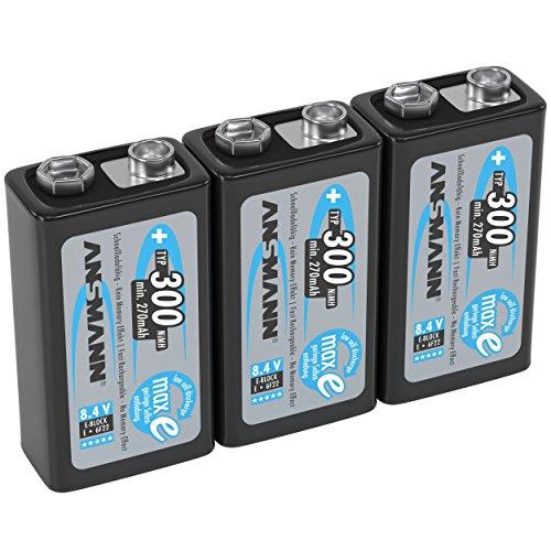 ANSMANN Akku 9V Block Typ 300mAh NiMH 3 Stück mit geringer Selbstentladung - Wiederaufladbare Batterien maxE mit hoher Kapazität - 9 Volt Batterie für Messgerät Multimeter Spielzeug Fernbedienung