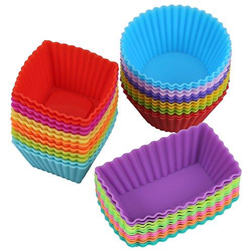 Magic Zone 36 Stück Silikon wiederverwendbare Cupcake Cases Backen Muffin Cups Backförmchen Muffinformen (Pan Muffin 6-cup)