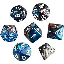 eBoot Dados Poliédricos Set de 7-Dados para Dungeons y Dragons con Bolsa Negra (Azul Marrón)