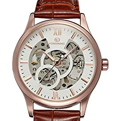 PIXNOR Men Skeleton Mechanical Wrist Watch Hand-Wind Up PU Leather Strap (Rose Gold White)