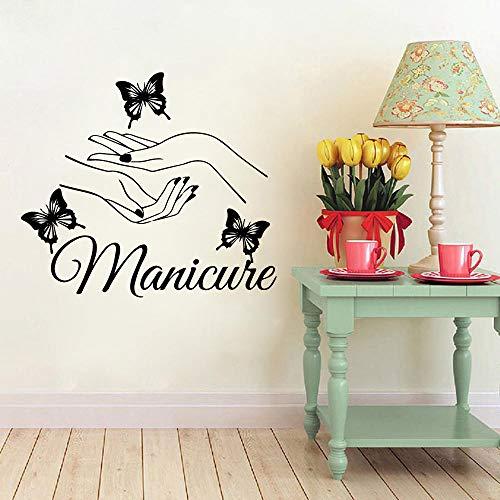 Wandaufkleber Beauty Nail Vinyl Wall Sticker Art Manicure Wall Decals Butterfly Hands Wall Window Decoration 43 * 48Cm