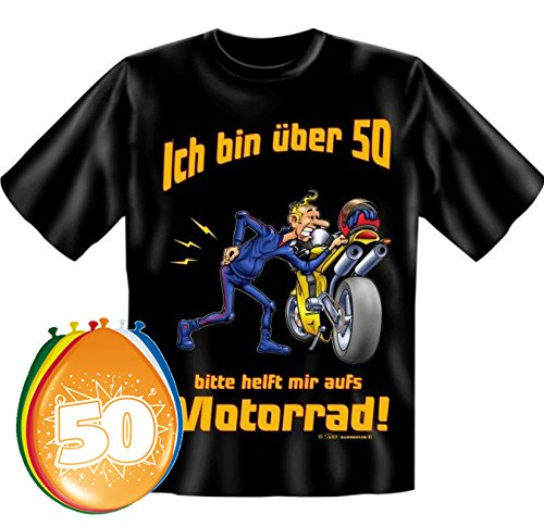 T-Shirt Ich bin über 50 bitte helfen sie mir aufs Motorrad Größe XL zum 50. Geburtstag + 8 Luftballons (T-shirt Motorräder Über)