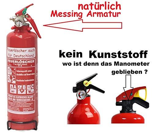 1 kg ABC Pulver Feuerlöscher NEU Orginalverpackt Brandklasse ABC , EN 3 , Messingarmatur + Sicherheitsventil + Manometer / KFZ halter , Pulverlöscher Auto