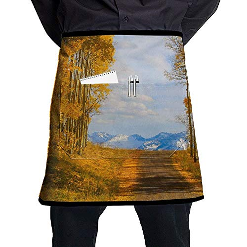 GDESFR Apron with Pock,Autumn Yellow Tree Road Unisex Fashion Half Body Waist Chef Aprons with Pocket,Family Kitchen Cooking Short Aprons for Pub Bartenders