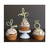 Hochzeit Cupcake Topper, Love Ring Essen Picks Mädchen Geburtstag Party Kuchen Dekor Cupcake Party Picks, 26 Stück