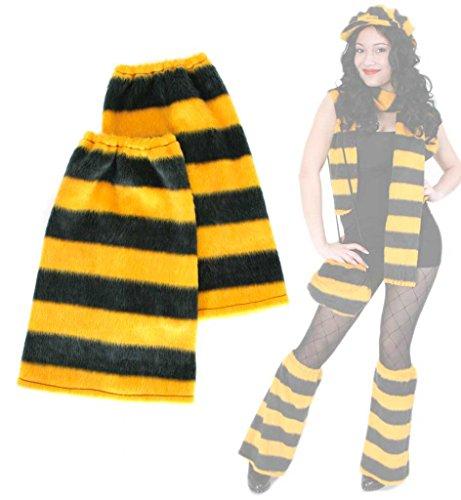 Beinstulpen, Plüsch - Stulpen, für Erwachsene, Tier - Muster, viele Verschiedene Designs, große Auswahl, Accessoire, ideal für Karneval (Biene)