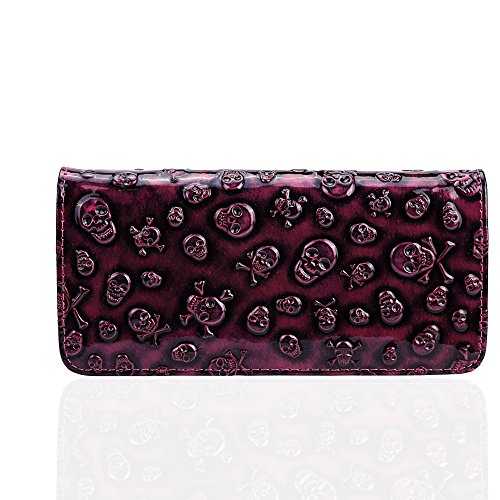 Portafoglio di Dreambox da donna, vintage, con scheletri, pochette con cerniera Rose Red
