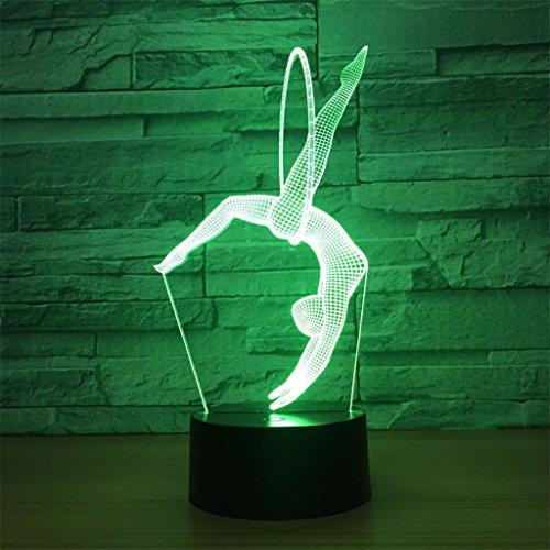 LT&NT Lampe 3D Gymnastique Illusion d'Optique LED Lights Table Lampe veilleuse 5 Couleurs changeantes USB Haut-Parleur Bluetooth noël Cadeaux d'Anniversaire pour Les Enfants -Haut-Parleur Bluetooth