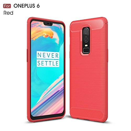 cookaR Cover Oneplus 6, Oneplus 6 Case, Cover Oneplus 6 Case Ultra thin Silicone Silicone Cover for Oneplus 6 (Red)