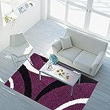 carpet city Shaggy Teppich Hochflor Langflor Streifen-Muster 4 Größen, Größe in cm:60x110 cm, Bogen:Bogen lila schwarz Creme